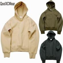 QoolXCWear bardzo dobrej jakości ładne bluzy z kapturem hip hopowe z polarem ciepłe zimowe męskie kanye west bluza z kapturem swag jednolity pulower