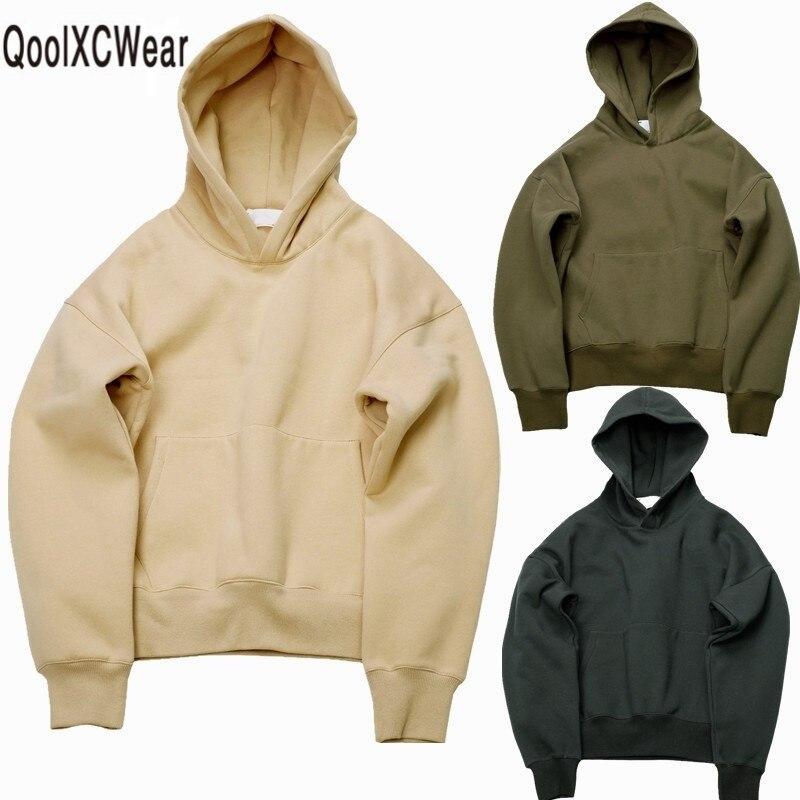 Qoolxcwear очень хорошее качество хорошее в стиле хип-хоп с капюшоном флис теплые зимние мужские Канье Уэст Толстовка SWAG Одноцветный пуловер ...