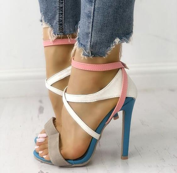 Drop Shipping Women Patchwork Open Toe Summer Cross Strappy Thin Heels Party High Heel Sandals Sexy Night Club Shoes Lady women strappy heels evening high heel black patent leather sandals open toe thin heel sexy party stiletto shoes big size 2017