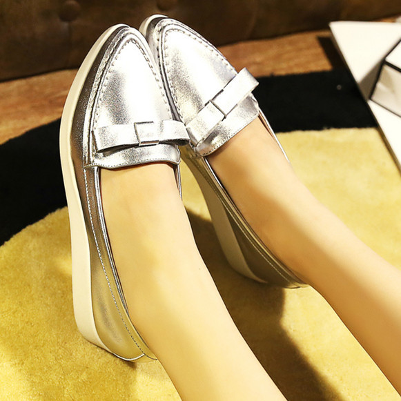 ФОТО Airfour  designer White Silver Women Genuine Leather Spring / Autumn ladies shoes Pointed Toe shoes for women flats shoes