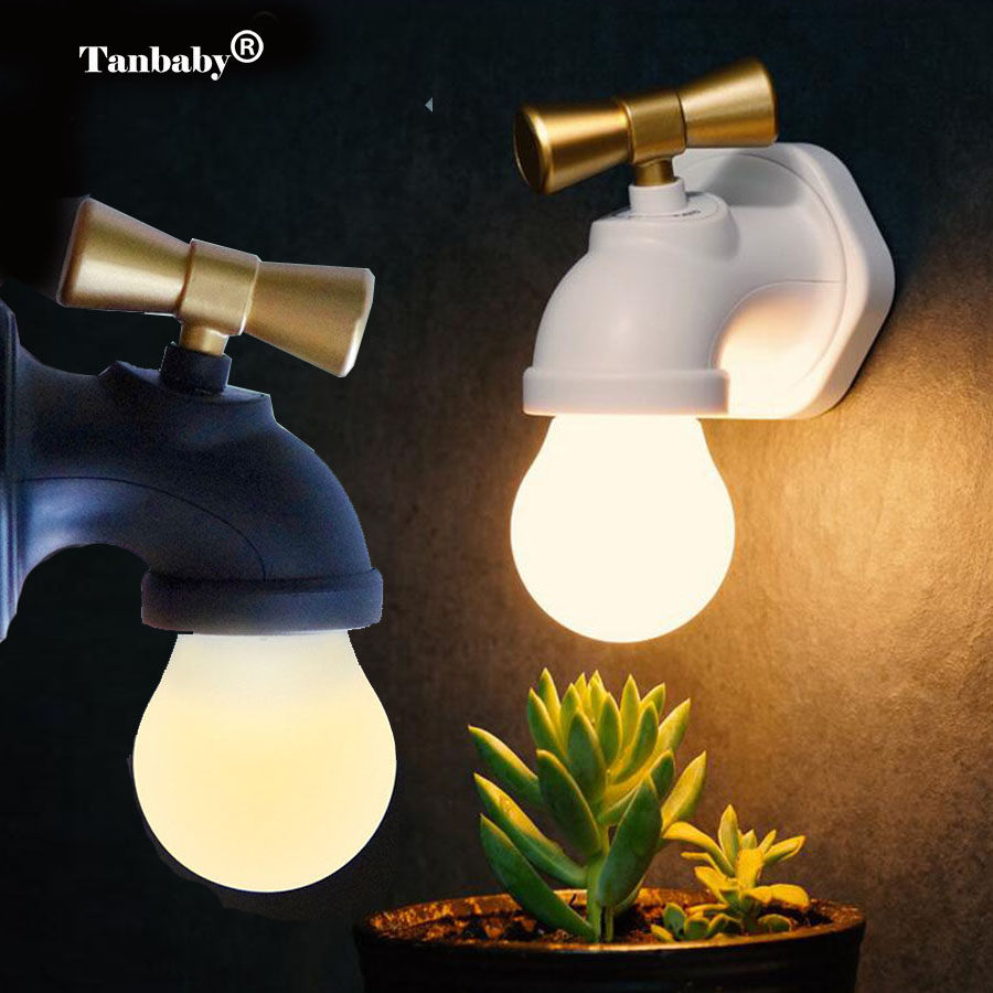 Tanbaby Voice Control LED Night Light Faucet Type 3 Mode Mini USB Rechargeable Tap Wall Night Light Lamp for Kids Bedroom Toilet keyshare dual bulb night vision led light kit for remote control drones