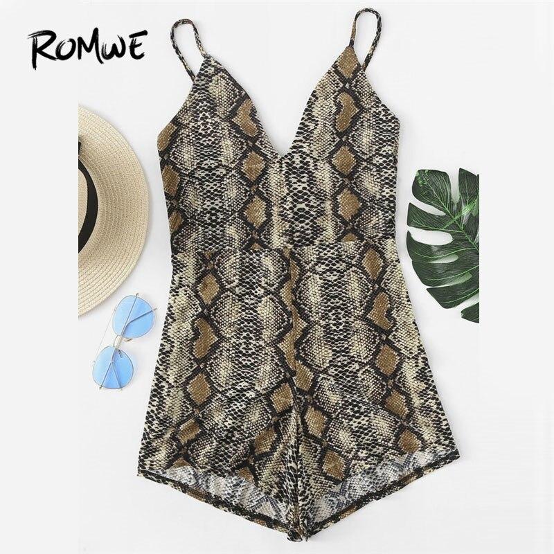 ROMWE Motif Peau de Serpent V Décolleté Cami Barboteuse 2018 Nouvelle D'été Sans Manches Col En V Profond Femmes Vêtements Taille Haute Skinny Body