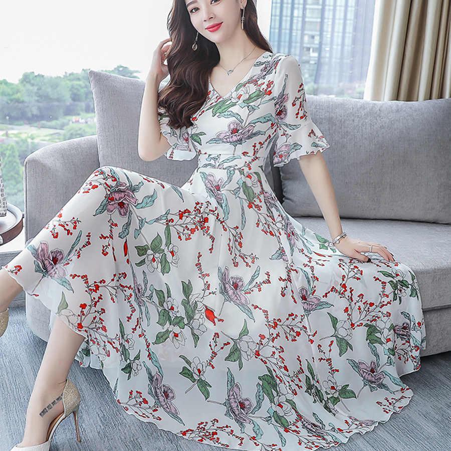 2019 цветочное шифоновое пляжное длинное платье Летнее винтажное 3XL плюс размер с принтом Бохо миди сарафан элегантные женские облегающие вечерние платья