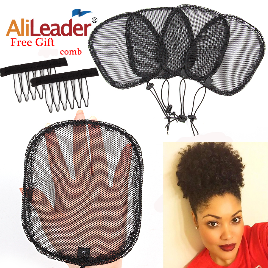 Alileader Cheap 5Pcs Hair Bun Ponytail Net Wig Caps For Making Ponytail With Adjustable Strap On The Back Guleless Hairnet