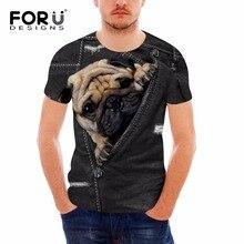 FORUDESIGNS divertido 3D negro falso bolsillo Denim perro los hombres T camisas marca de diseño de verano O Camisetas cuello Streatwear hombre Camisetas