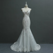2017 New Arrival Sexy Deep V-neck Skinny Exquisite Lace Mermaid Small Trailing Wedding Dress 951
