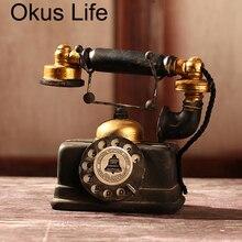 Винтажный черный телефон в стиле ретро, старинная потертая Статуэтка для телефона, домашний декор, проводное стационарное классическое офи...
