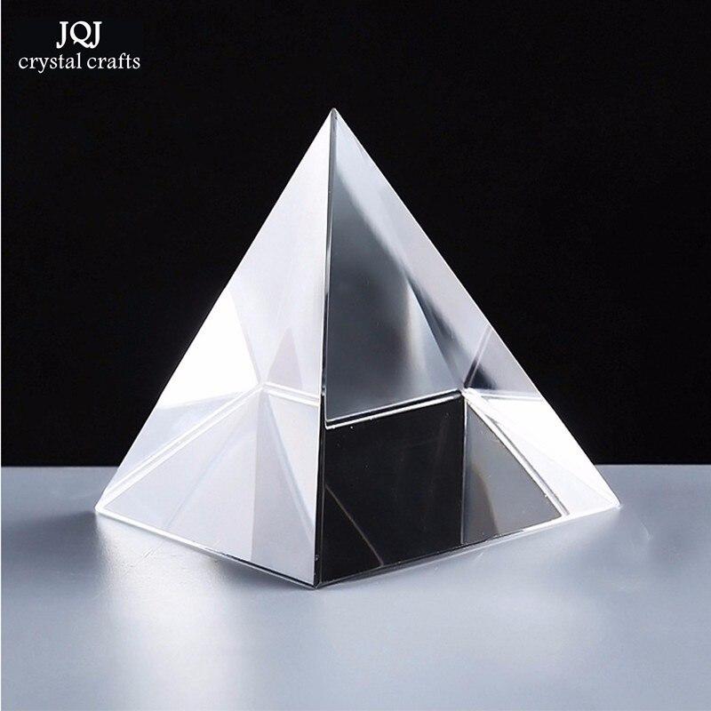 6cm křišťálová pyramida řemesla skleněné figurky miniatury Feng Shui těžítka ozdoby Vintage Home Decor