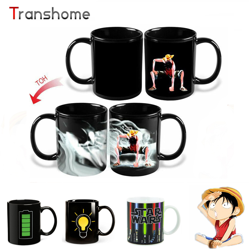 Transhome Star Wars Luffy Porcelain Color Change Mug Lightsaber Battery Bulb Heat Sensitive Tea Milk Coffee