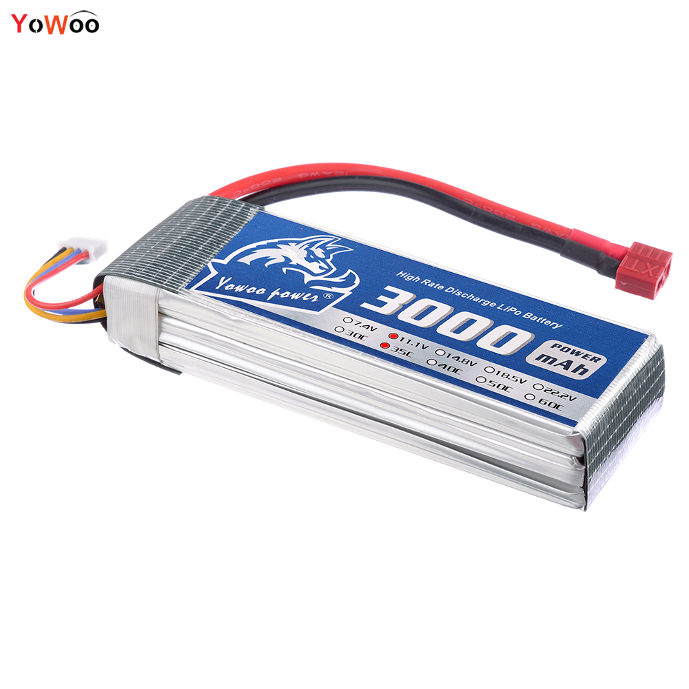 YOWOO Lipo 3s Trex 450 Battery 11.1V 3000mah 35C Max 70C XT60 Rc Batteria For CX20 Helic ...