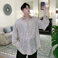 M XL!Summer designer heavy work hand embroidered line sequins loose long sleeved shirt tide brand men's net red shirt.