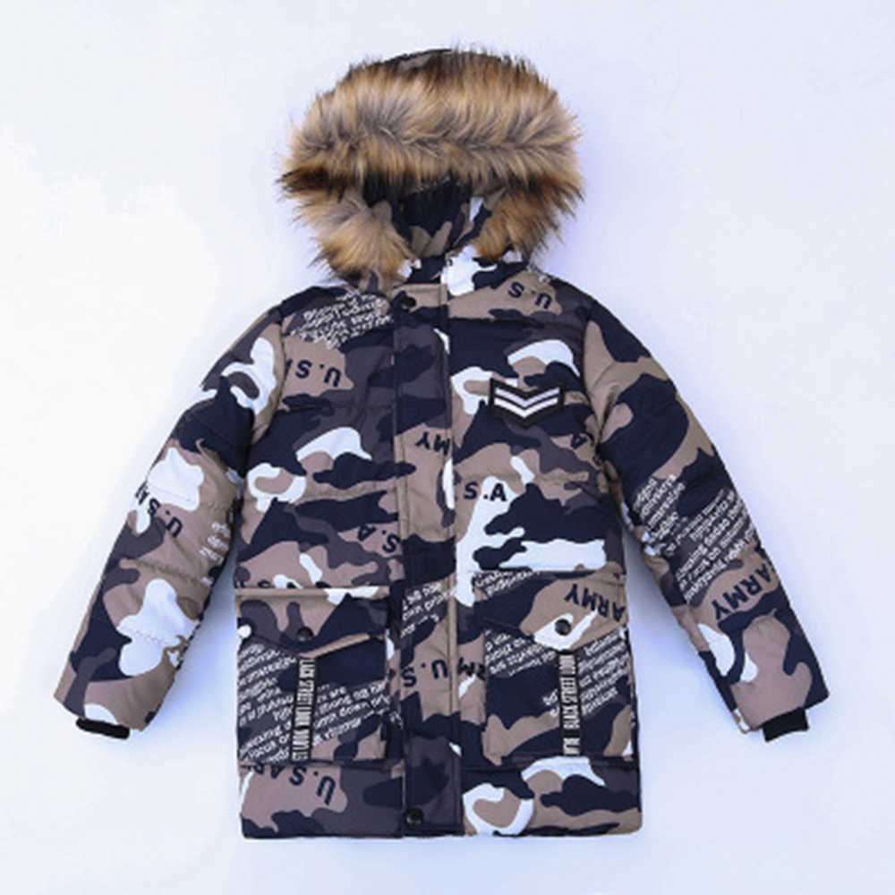 Keruishu Kids Warm Parka Winter Real Fur collar Boys Coats Children Casual Camo Flag Print Thick Jackets Boys Hooded Outerwear