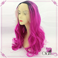 Two Tones Body Wavy Synthetic Lace Front Wigs Ombre Pink Dark Root Heat Resistant Fibers Glueless Hair