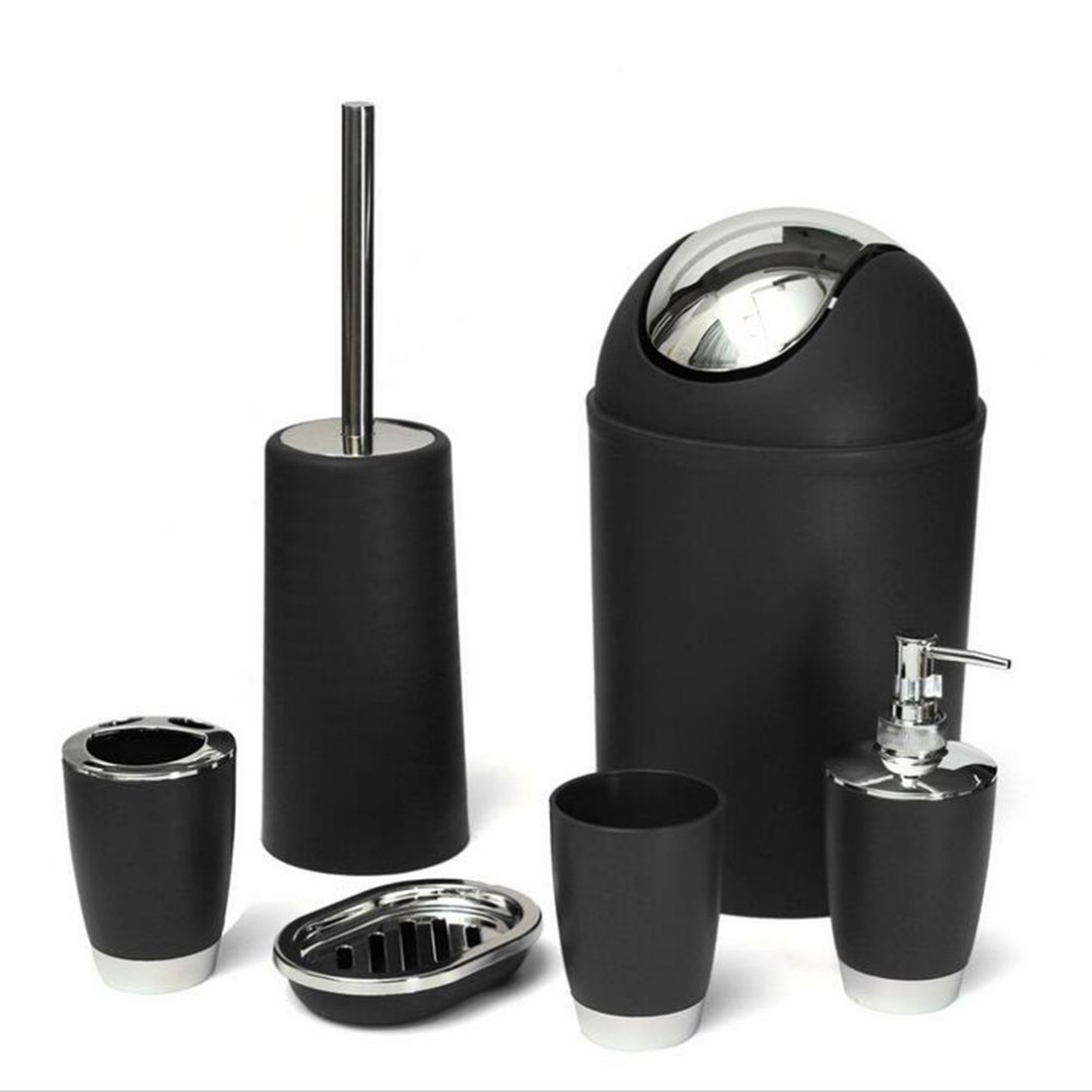 black accessories for bathroom. getSubject  aeProduct 6Pcs set Toothbrush holder Soap dish Waste Bin Rinse cup Hand