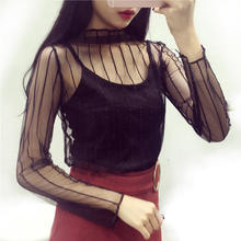 2018 Fashion Summer Women Sexy Hollow Shirt Lace Mesh Turtleneck Lady Tops Perspective Long Sleeves Female Blouses Clothing(China)