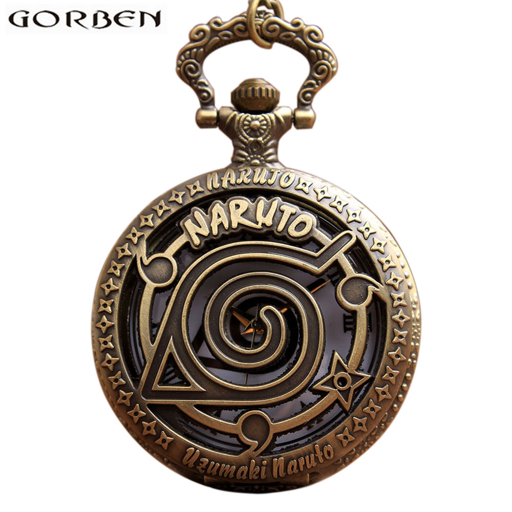 Retro Bronze Anime Naruto Pocket Watch Necklace For Women Men Hollow Metal Case Flip Quartz Fob Vintage Clock Chain Pendant Gift