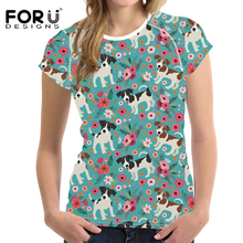 FORUDESIGNS T Shirt Women Jack Russel Flower Printing Tee Female Floral T-shirt Harajuku Summer Tops for Teen Girl Clothes