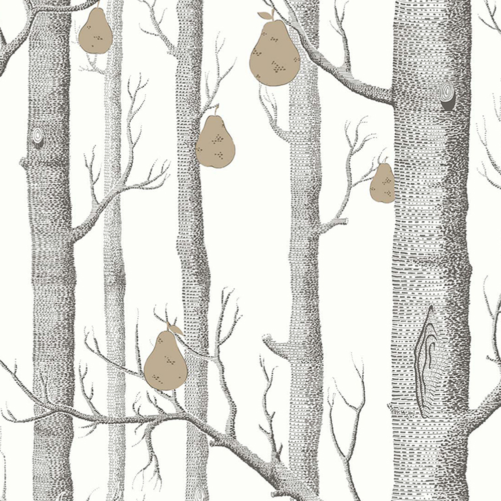 Gray Birch Trees With Pears Fruits On Tree Wallpaper Mural Photowall 3d Papel De Pared FC48001