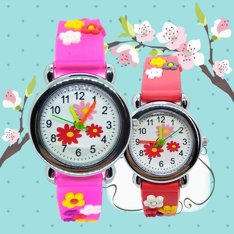 Dropshipping Fashion Girls Boys Cute Flower Pattern Kids Watches Children Watch Child Quartz Wristwatches Best Christmas Gifts