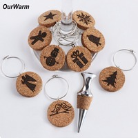 OurWarm 1Box Christmas Pendants Cork Wine Bottle Stopper New Year Gift Wine Glass Charms Holiday Party