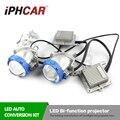 Envío libre iphcar blanco bi lente led de alta de luz de cruce LED Angel Eyes Faro Proyector para H1 H4 H7 H11 automóvil