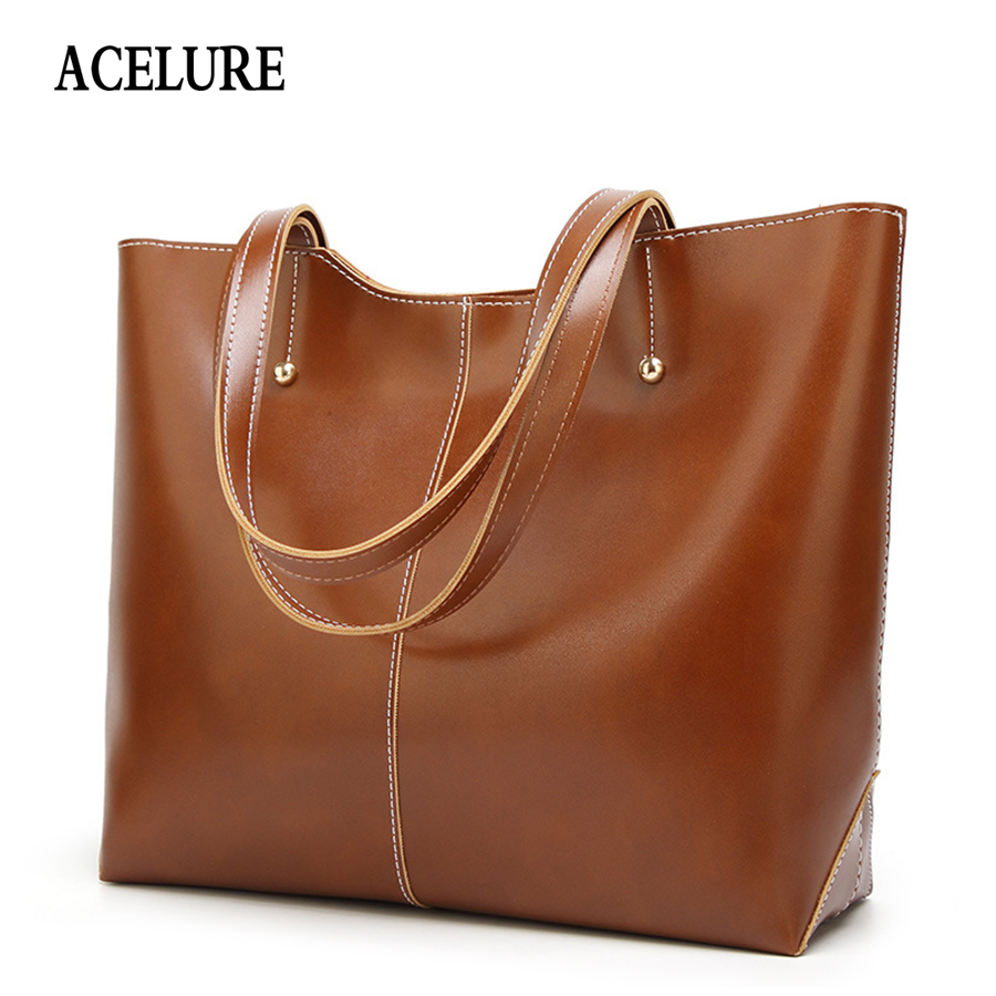 Detail Feedback Questions about ACELURE Oil Wax Leather Women s Tote Large  capacity Women shoulder bag Classic Casual Tote bags for women 2018 bolsa  ... d57ce1f55a