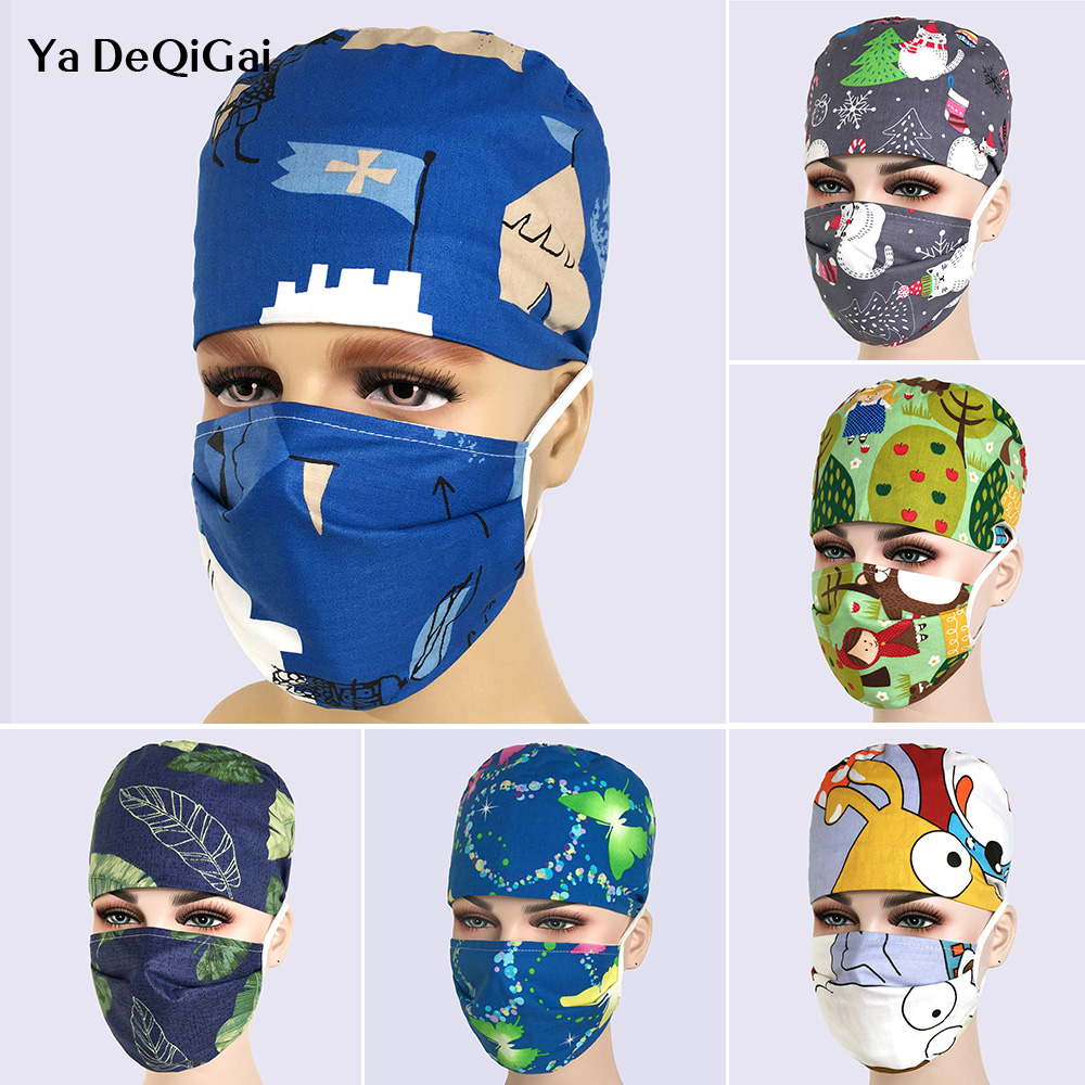 Unisex Dentistry Surgical Cap Pet Hospital Medical Nurse Cap Printing Breathable Pharmacy Scrub Hat Adjustable Beauty Salon Hats