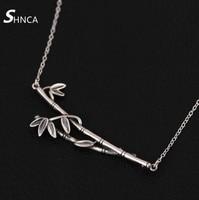 SHNCA Fine Jewelry Genuine 100% Fascini Dell'argento Sterlina 925 Original Vintage Bambù Flora Choker Collane Per Le Donne Kolye N367