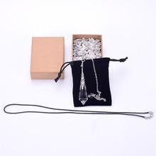 цена на Fashion Pendulum Jewelry Natural Clear Quartz Healing Crystal Pendulum Quartz Crystal Pendant Necklace Dowsing Reiki Chakra