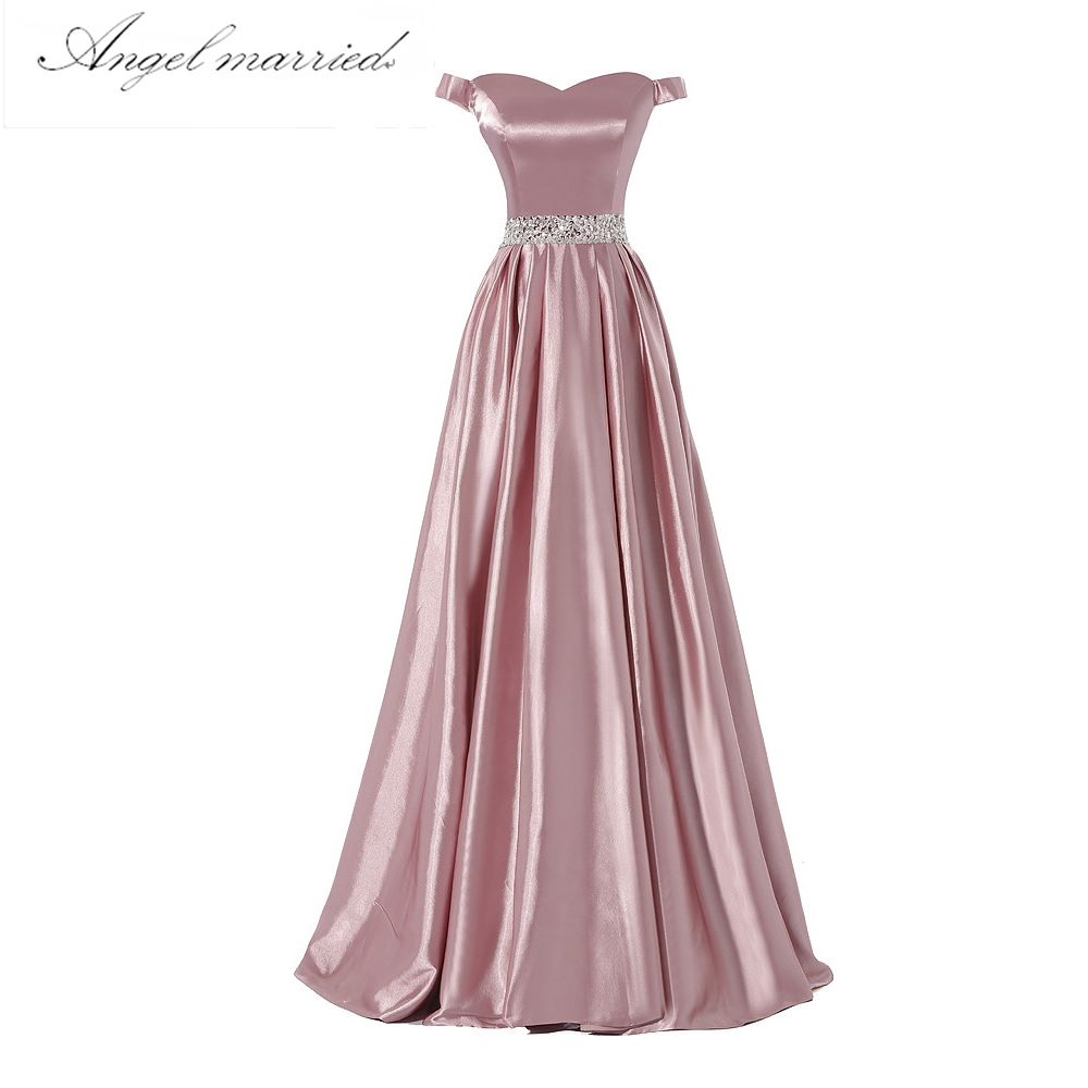 167e676f868 Robe de soirée élégante longue femmes vraies Photos Blush couleur Satin une ligne  robe de bal Sexy cap manches robe formelle Vestido dans Robes De Soirée de  ...