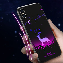 Luminous Animal Soft Case For iPhone X XS MAX Luxury Silicone Phone 7 8 Plus Cases 6 S 6S