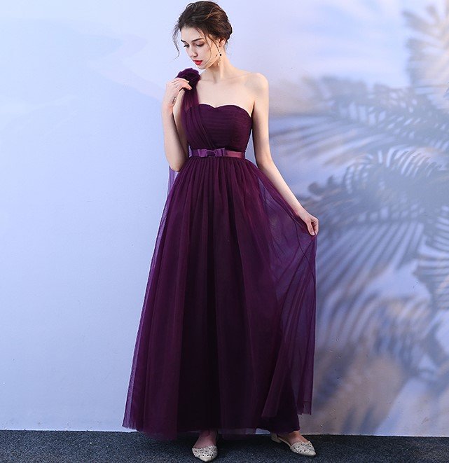 Grape Purple Bridesmaid Dresses Wedding Party Dress Sexy Dress Sleeveless One Shoulder Back of Bandage in Bridesmaid Dresses from Weddings Events