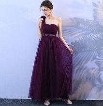 Grape Purple Bridesmaid Dresses Wedding Party Dress  Sexy Sleeveless One Shoulder Back of Bandage