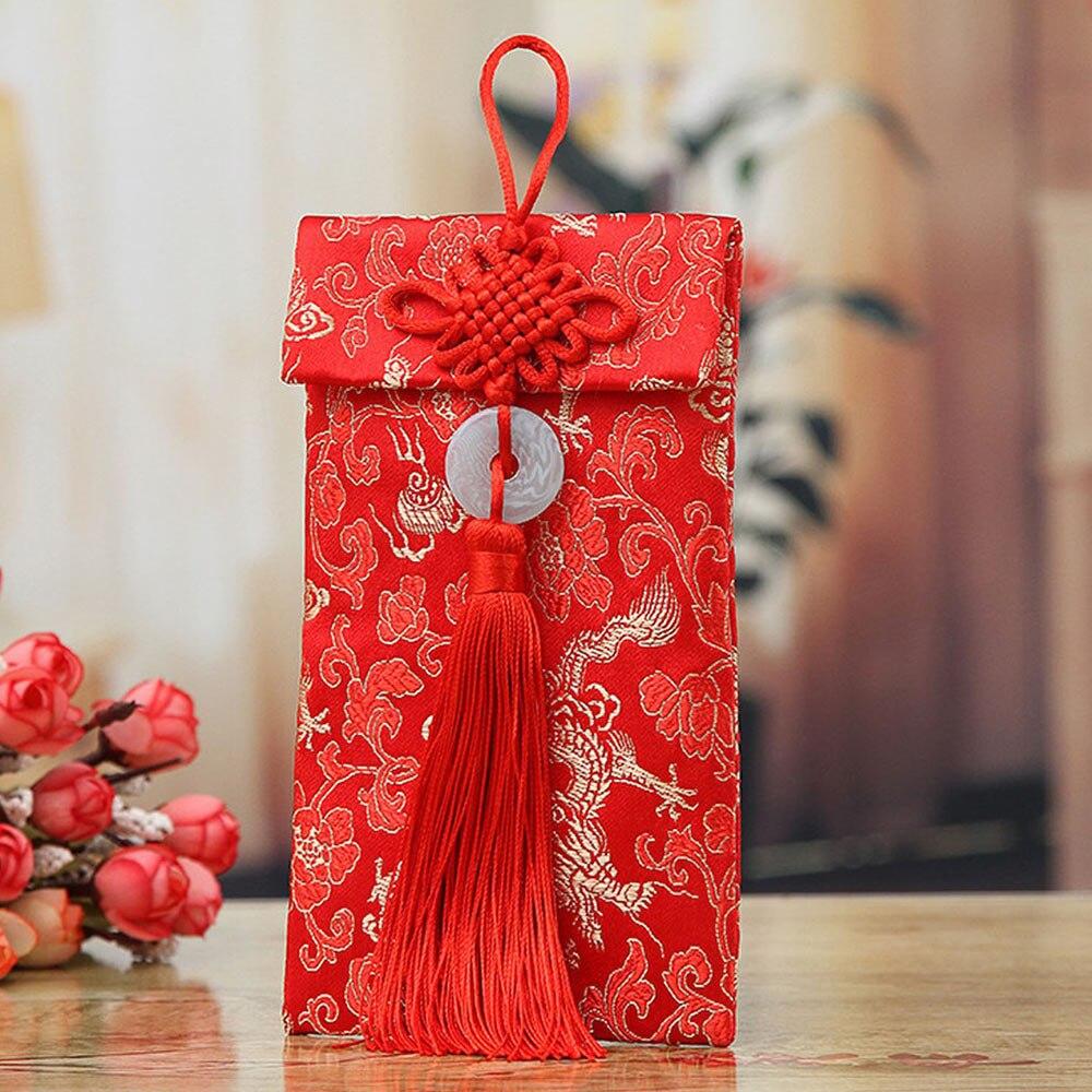 Изысканный китайский узел пакеты денег для парчи Красный конверты Дракон Феникс шаблон для бумажника китайский красный конверты свадьба