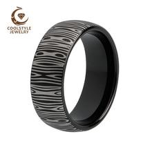 8 мм дамасское Кольцо мужское вольфрамовое черное кольцо обручальное кольцо с выпуклой щеткой Выгравированной отделкой комфортная посадка