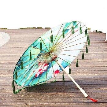 Sombrilla de seda para lluvia para mujeres, utilería para bailes, Cheongsam, paraguas...