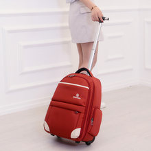 New Fashion Waterproof Oxford Trolley Travel Backpack Hand Luggage Suitcase Bags on Wheels Unisex Rolling Duffle Bag WSD-12911(China)