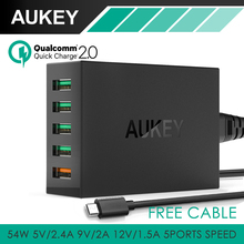 Aukey Quick Charge 2.0 54W 5 Port Micro USB Desktop Mobile Charger QC2.0 Wall Charging EU US Plug for iPhone Samsung S6 SONY HTC