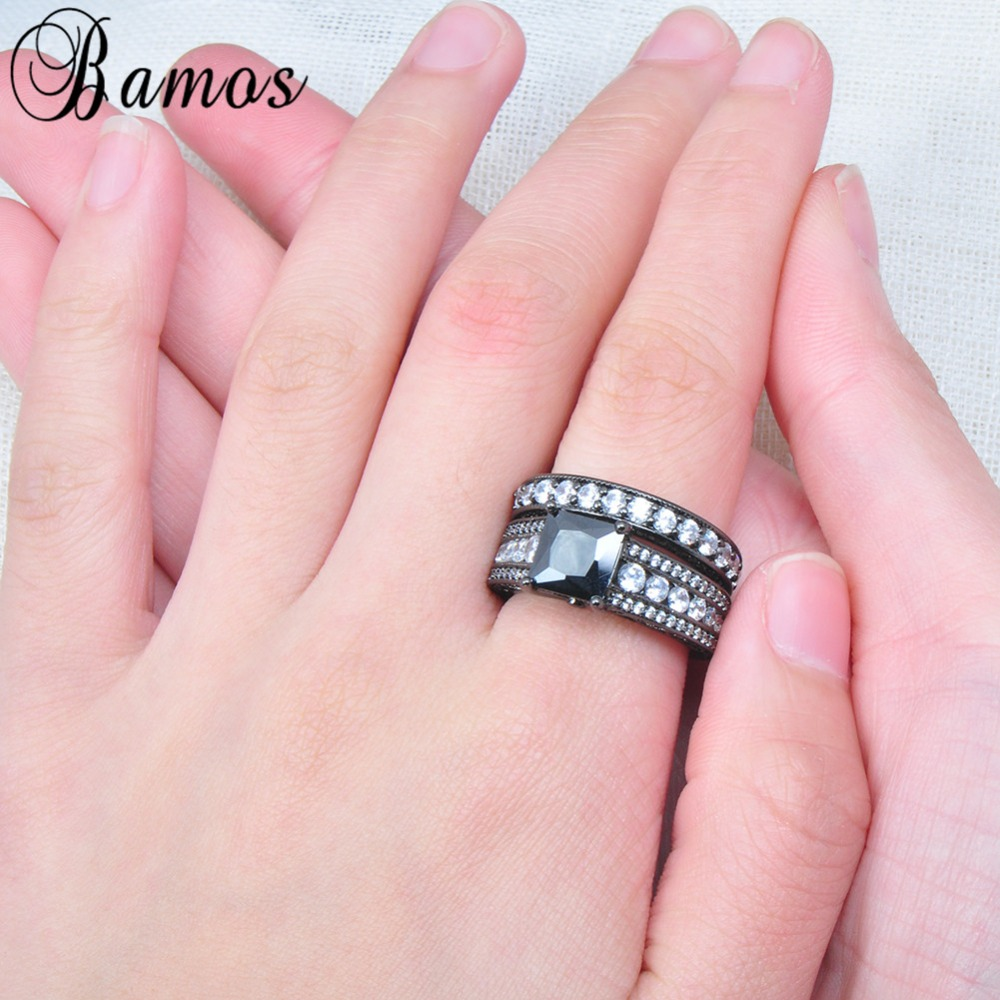 Bamos Romantic Black & White Zircon Ring Sets For Couple Black Gold ...