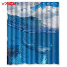 WONZOM New Polyester Fabric Dolphin Shower Curtains With 12 Hooks For Bathroom Decor Modern Animal Bath