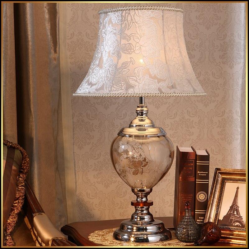 Tischlampen Luxary Klassischen Amerikanischen Schlafzimmer Tisch Licht Foyer Europäischen Kristall Tisch Lampe Glas Hohen Tisch Licht Nacht Hotel Tisch Lampe