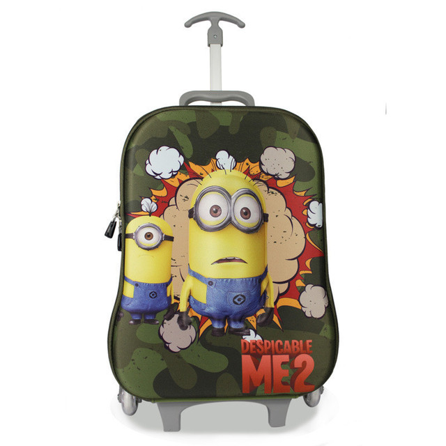 2 colors 2015 New children 3D Cartoon Despicable Me Minions Trolley School  Bags With 3 Wheels Kids Cool Cute Character Backpack 777b2b5eaf