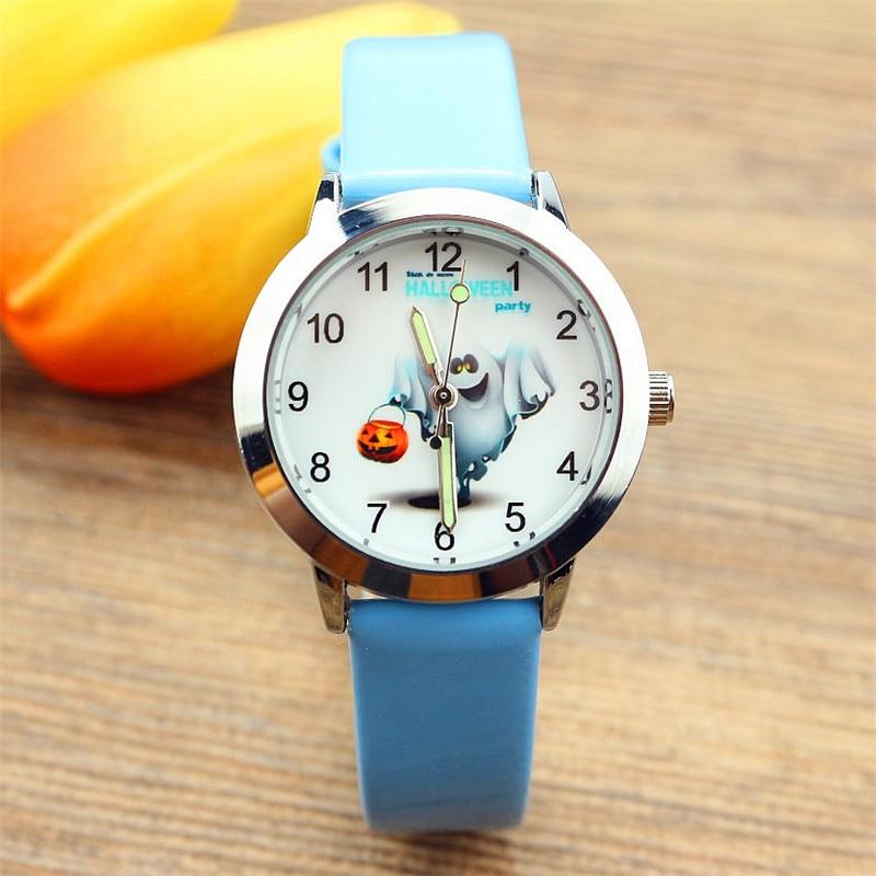 Nazeyt Free Shipping Children Watch Boys And Girls Ghost Pumpkin Pattern Leather Quartz Watch Luminous Hand Halloween Gift Clock