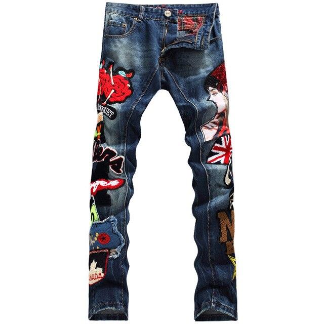 2018ใหม่แฟชั่นแบรนด์Europenสไตล์อเมริกันผ้าฝ้ายเย็บปะติดปะต่อกันผู้ชายกางเกงยีนส์กางเกงยีนส์ที่มีสีสันหรูหราตรงบาง597 #-ใน ยีนส์ จาก เสื้อผ้าผู้ชาย บน AliExpress - 11.11_สิบเอ็ด สิบเอ็ดวันคนโสด 1