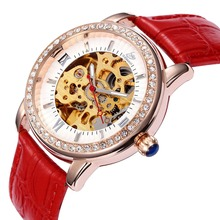 New Women Crystal Skeleton Steampunk  Self Wind Ladies Mechanical Wrist Watch relogio masculino Luxury Timepiece 11