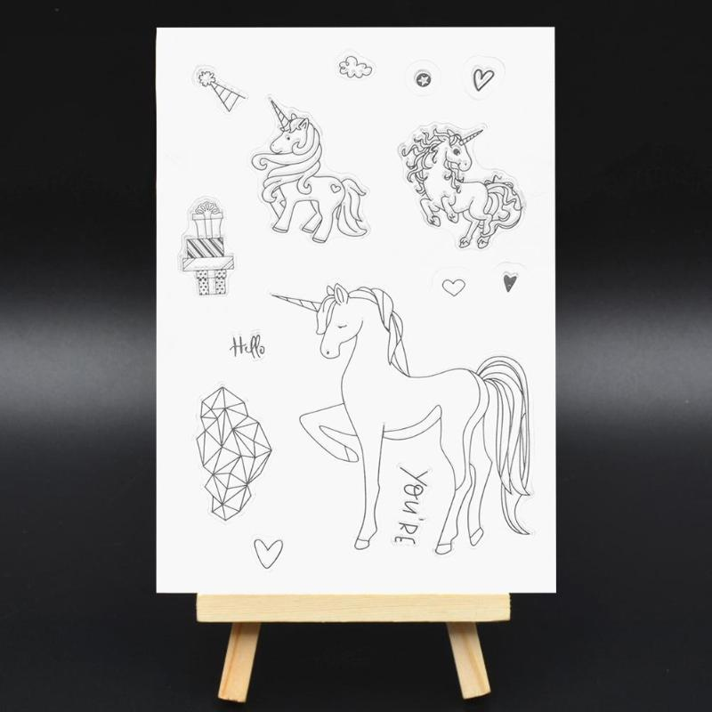 Cute Diamond Unicorn Clear Stamps For Scrapbooking Photo Album Transparent Silicone Stamps Cartoon DIY Crafts Stamp New lovely animals and ballon design transparent clear silicone stamp for diy scrapbooking photo album clear stamp cl 278