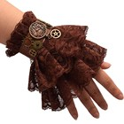 Women Steampunk Gear Brown Lace Wrist Cuffs Vintage Wristbands