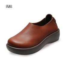 2016 women genuine leather shoes woman Full grain leather cowhide women flats fashion round toe platform women's shoes