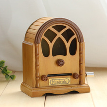 Wooden music box music radio hand tape box DIY creative gift birthday gift for men and women friends
