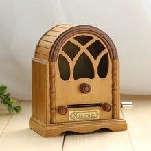 Wooden music box music radio hand tape box DIY creative gift birthday gift for men and